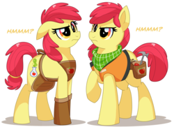 Size: 1980x1440 | Tagged: safe, artist:itstaylor-made, apple bloom, bloom and gloom, alternate cutie mark, apron, clothes, dual persona, hammer, neckerchief, older, toolbelt, vest