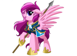 Size: 1980x1440 | Tagged: safe, artist:itstaylor-made, oc, oc:pepperberry, pegasus, pony, comic:twilight's reign, armor, guard, guardsmare, royal guard, simple background, spear, transparent background, weapon