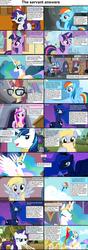 Size: 1282x3661 | Tagged: safe, derpy hooves, dj pon-3, moondancer, octavia melody, philomena, princess cadance, princess celestia, princess luna, rainbow dash, rarity, shining armor, twilight sparkle, vinyl scratch, alicorn, earth pony, pegasus, phoenix, pony, unicorn, comic:celestia's servant interview, canterlot, caption, cello, comic, cs captions, female, glasses, headphones, interview, keyboard, looking at you, mare, musical instrument, note, ponyville, sunglasses, twilight sparkle (alicorn)