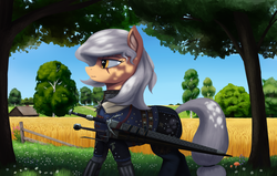 Size: 3700x2354 | Tagged: safe, artist:mrscroup, applejack, alternate hairstyle, armor, crossover, ear fluff, farm, female, scar, solo, sword, the witcher, tree, weapon