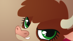 Size: 1920x1080   Tagged: safe, artist:icekatze, arizona (tfh), cow, them's fightin' herds, bust, community related, female, horn, lineless, portrait, solo, teeth, wallpaper