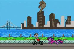 Size: 960x640   Tagged: safe, artist:vest, twilight sparkle, zecora, zebra, bicycle, doc louis, little mac (punch out), my little art challenge, nigga stole my bike, parody, pixel art, ponified meme, punch out, ytmnd