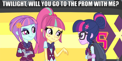 Size: 990x500 | Tagged: adventure in the comments, bus, crystal prep academy, equestria girls, female, friendship games, image macro, invitation, lesbian, meme, overanalyzing comments in the comments, safe, sci-twi, screencap, shipping, smirk, sourlight, sour sweet, sunny flare, twilight sparkle