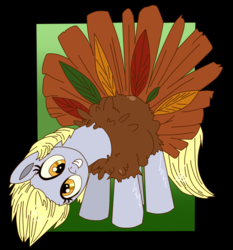 Size: 884x950 | Tagged: safe, artist:krazykari, artist:xioade, derpy hooves, pegasus, pony, turkey, animal costume, clothes, costume, female, food, mare, meat, solo, south park, turkey costume