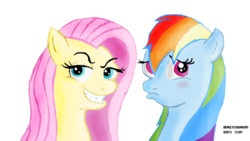 Size: 1191x670 | Tagged: safe, fluttershy, rainbow dash, face swap, personality swap, rapeface