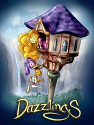 Size: 1736x2312 | Tagged: safe, artist:ponut_joe, adagio dazzle, aria blaze, sonata dusk, equestria girls, adaria, antagonist, arisona, clothes, costume, crossover, disney, fairy tale, female, horse cosplay, impossibly long hair, lesbian, long hair, polydazzlings, rapunzel, shipping, sonagio, tangled (disney), the dazzlings