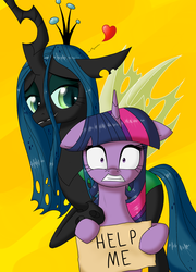 Size: 800x1112 | Tagged: artist:deusexequus, bedroom eyes, floppy ears, frown, grin, gritted teeth, heart, help, lesbian, nervous, queen chrysalis, safe, scared, shipping, sign, smiling, twilight sparkle, twisalis, wide eyes