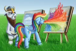 Size: 1200x812 | Tagged: safe, artist:sa1ntmax, rainbow dash, oc, tabun art-battle, canvas, easel, paint, painting, plein air, puking rainbows, tabun art-battle cover