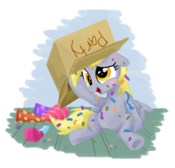 Size: 900x863 | Tagged: artist:sketchyjackie, box, derpy hooves, female, hat, mare, party hat, pegasus, pony, safe, solo
