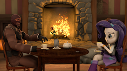Size: 1920x1080   Tagged: safe, artist:fd-daylight, rarity, equestria girls, 3d, beverage, boots, bracelet, chair, clothes, crossed legs, crossover, fireplace, flower, ice cube, sitting, skirt, source filmmaker, spoon, spy, sugarcube, table, tea, team fortress 2, vase