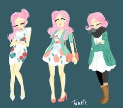 Size: 1024x900 | Tagged: safe, artist:endarie, fluttershy, human, alternate hairstyle, boots, clothes, dress, high heels, humanized, leggings, lineless, nail polish, pantyhose, purse, scarf, shoes, simple background, skirt, socks