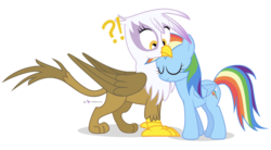 Size: 1000x550 | Tagged: safe, artist:dm29, gilda, rainbow dash, griffon, confusion, cute, female, gildash, interspecies, lesbian, nuzzling, shipping, simple background, transparent background