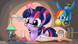 Size: 2560x1440 | Tagged: safe, artist:mysticalpha, rainbow dash, twilight sparkle, :o, alternate hairstyle, book, chemistry, clothes, cute, cymbals, eyes on the prize, female, flying, glasses, grin, incoming prank, lab coat, levitation, magic, musical instrument, prank, smirk, sneaking, spread wings, telekinesis, this will end in explosions, this will end in fire, this will end in tears, this will end in tears and/or death, this will not end well, wallpaper, watching