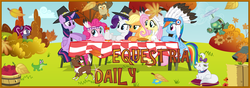 Size: 9000x3150 | Tagged: safe, artist:korsoo, angel bunny, applejack, fluttershy, gummy, opalescence, owlowiscious, pinkie pie, rainbow dash, rarity, tank, twilight sparkle, winona, oc, oc:spotlight splash, alicorn, alligator, bird, cat, chicken, dog, owl, pony, turtle, equestria daily, 2015, absurd resolution, animal, apple, applejack's hat, banner, barrel, bonnet, bush, cloud, cowboy hat, equestria daily mascots, feather, female, flying, food, freckles, grass, group, hat, hay bale, headdress, holiday, inkscape, leaf, leaves, magic, mane six, mare, mascot, native american, necktie, open mouth, picnic table, pie, pilgrim hat, propeller, rock, sitting, sky, squaw dash, squaw pie, squawjack, stetson, table, text, thanksgiving, theme, tree, twilight sparkle (alicorn), vector, wall of tags