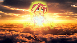 Size: 1280x720 | Tagged: safe, sunset shimmer, equestria girls, my past is not today, catasterism, glow, goddess, happy, pun, sunset, sunset shimmer is god, sunshine shimmer, visual pun