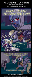 Size: 850x2020   Tagged: safe, artist:terminuslucis, derpy hooves, octavia melody, earth pony, pegasus, pony, vampire, vampony, comic:adapting to night, comic:adapting to night: the hunted, armor, big damn heroes, cloak, clothes, comic, confused, cult, dialogue, electricity, epic derpy, fangs, female, floppy ears, flying, frown, glare, gritted teeth, hamon, hood, huh, knock out, knockout, male, mare, mighty mouse, open mouth, punch, question mark, sneak attack, spread wings, stallion, surprised, thunder punch, wat, wide eyes, windswept mane, wings
