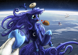 Size: 1600x1131 | Tagged: safe, artist:foxi-5, princess luna, twilight sparkle, alicorn, human, pony, unicorn, :3, :t, astronaut, bread, candy, cute, dilated pupils, donut, eating, female, food, hand, holding hands, holding hooves, human on pony hoof holding, licking, licking lips, luna and the nauts, lunabetes, mare, messy eating, orbit, planet, smiling, space, spaceship, spacesuit, sparkles, sweets, tiara, tongue out