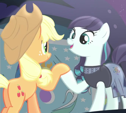 Size: 678x610 | Tagged: safe, screencap, applejack, coloratura, the mane attraction, equestrian flag, hoof hold, rara, stage