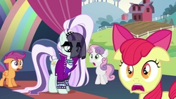 Size: 1805x1016 | Tagged: safe, screencap, apple bloom, coloratura, scootaloo, sweetie belle, the mane attraction, countess coloratura, cutie mark crusaders, floppy ears, shocked, stage, veil