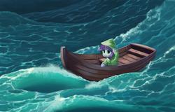 Size: 1024x655 | Tagged: dead source, safe, artist:maggwai, sweetie belle, boat, female, ocean, raincoat, solo