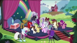 Size: 2048x1155   Tagged: safe, screencap, apple bloom, carrot crunch, coloratura, diamond tiara, featherweight, lily longsocks, photo finish, pipsqueak, scootaloo, silver spoon, snails, snips, sweetie belle, twist, earth pony, pegasus, pony, unicorn, the mane attraction, clothes, colt, countess coloratura, cutie mark crusaders, dress, female, filly, foal, jacket, male, mare, stage, veil
