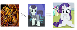 Size: 1914x746 | Tagged: safe, coloratura, rarity, dragon, the mane attraction, c:, clothes, cute, grin, mathematics in the comments, name, namesake, ra, raised hoof, rara, rarara, rarararara, raribetes, sitting, smiling, squishy cheeks, the winged dragon of ra, yu-gi-oh!
