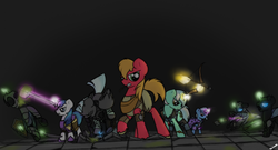 Size: 2234x1207 | Tagged: armor, arrow, artist:sinrar, big macintosh, bow and arrow, bow (weapon), champions of norrath, changeling, crossover, earth pony, everquest, female, fight, hand, levitation, lyra heartstrings, magic, magic hands, male, mare, maul, pegasus, pickaxe, pony, raised hoof, safe, shining armor, stallion, telekinesis, thunderlane, trixie, unicorn, unshorn fetlocks, video game, weapon