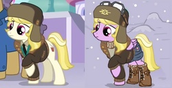 """Size: 987x507   Tagged: safe, artist:agm, edit, screencap, march gustysnows, oc, oc:dazzling """"dodo"""" dusk, pegasus, pony, fallout equestria, fallout equestria: the fossil, princess spike (episode), clothes, coat, coincidence, comparison, goggles, hat, hoof boots, shorts, stable-tec, ushanka, vault suit, winter"""