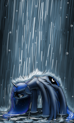 Size: 900x1500 | Tagged: safe, artist:xxmarkingxx, princess luna, crying, female, rain, sad, signature, solo, wet