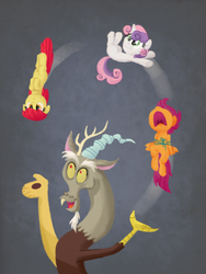 Size: 900x1200 | Tagged: apple bloom, artist:sketchyjackie, bondage, cutie mark crusaders, discord, floppy ears, juggling, nose in the air, pony juggle, safe, scootaloo, screaming, string, sweetie belle