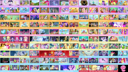 Size: 4420x2500 | Tagged: safe, artist:sploich, edit, edited screencap, screencap, angel bunny, apple bloom, applejack, babs seed, big macintosh, bon bon, carrot cake, cheerilee, cheese sandwich, cherry jubilee, chickadee, cloudy quartz, coco pommel, coloratura, cranky doodle donkey, daring do, diamond tiara, discord, flam, flash sentry, flim, fluttershy, garble, gilda, granny smith, harry, igneous rock pie, iron will, lemon hearts, lightning dust, limestone pie, lyra heartstrings, marble pie, mare do well, maud pie, minuette, moondancer, ms. peachbottom, neon lights, opalescence, owlowiscious, photo finish, pinkie pie, prince rutherford, princess cadance, princess celestia, princess luna, rainbow dash, rarity, rising star, sassy saddles, sci-twi, scootaloo, shining armor, silver spoon, smooze, spike, spike the regular dog, starlight glimmer, sunset shimmer, suri polomare, sweetie belle, sweetie drops, tank, tree hugger, trixie, trouble shoes, twilight sparkle, twinkleshine, winona, zecora, buffalo, diamond dog, dog, donkey, dragon, earth pony, griffon, parasprite, pegasus, pony, unicorn, zebra, a bird in the hoof, a canterlot wedding, a dog and pony show, a friend in deed, amending fences, apple family reunion, applebuck season, baby cakes, bats!, bloom and gloom, boast busters, bridle gossip, brotherhooves social, call of the cutie, canterlot boutique, castle mane-ia, castle sweet castle, crusaders of the lost mark, daring don't, do princesses dream of magic sheep, dragon quest, dragonshy, equestria games (episode), equestria girls, fall weather friends, family appreciation day, feeling pinkie keen, filli vanilli, flight to the finish, for whom the sweetie belle toils, friendship games, friendship is magic, games ponies play, green isn't your color, griffon the brush off, hearthbreakers, hearts and hooves day (episode), hurricane fluttershy, inspiration manifestation, it ain't easy being breezies, it's about time, just for sidekicks, keep calm and flutter on, leap of faith, lesson zero, look before you sleep, luna eclipsed, made in manehattan, magic duel, magical mystery cure, make new friends but keep discord, may the best pet win, mmmystery on the friendship express, one bad apple, over a barrel, owl's well that ends well, party of one, party pooped, pinkie apple pie, pinkie pride, ponyville confidential, princess spike (episode), putting your hoof down, rainbow falls, rainbow rocks, rarity investigates, rarity takes manehattan, read it and weep, season 1, season 2, season 3, season 4, season 5, secret of my excess, simple ways, sisterhooves social, sleepless in ponyville, slice of life (episode), somepony to watch over me, sonic rainboom (episode), spike at your service, stare master, suited for success, swarm of the century, sweet and elite, tanks for the memories, testing testing 1-2-3, the best night ever, the crystal empire, the cutie map, the cutie mark chronicles, the cutie pox, the cutie re-mark, the last roundup, the mane attraction, the mysterious mare do well, the one where pinkie pie knows, the return of harmony, the show stoppers, the super speedy cider squeezy 6000, the ticket master, three's a crowd, too many pinkie pies, trade ya, twilight time, twilight's kingdom, what about discord?, winter wrap up, wonderbolts academy, background pony, collage, cutie mark, equestria games, female, filly, flim flam brothers, hearth's warming eve, hearts and hooves day, image macro, male, mare, meme, my little pony logo, quartzrock, sonic rainboom, stallion, twilight sparkle (alicorn), unicorn twilight, wall of tags