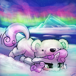 Size: 750x750 | Tagged: safe, artist:lumineko, sweetie belle, polar bear, pony, unicorn, 30 minute art challenge, animal costume, aurora borealis, clothes, cute, diasweetes, female, filly, pun, puns in the comments, scootie belle, solo, unamused