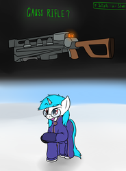 Size: 1425x1935 | Tagged: safe, artist:the-furry-railfan, oc, oc only, oc:minty candy, cyborg, pony, unicorn, fallout equestria: occupational hazards, annoyed, clothes, fallout 4, field, gauss rifle, glasses, jacket, snow