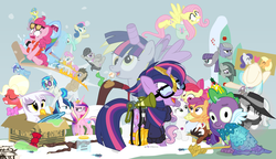 Size: 1200x692 | Tagged: safe, artist:dm29, apple bloom, applejack, big macintosh, bon bon, coco pommel, derpy hooves, discord, dj pon-3, doctor whooves, fluttershy, gilda, lemon hearts, limestone pie, lyra heartstrings, marble pie, maud pie, minuette, moondancer, octavia melody, pinkie pie, princess cadance, rainbow dash, rarity, scootaloo, shining armor, smooze, spike, sweetie belle, sweetie drops, time turner, trouble shoes, twilight sparkle, twinkleshine, vinyl scratch, alicorn, griffon, pony, twittermite, amending fences, appleoosa's most wanted, bloom and gloom, brotherhooves social, canterlot boutique, castle sweet castle, crusaders of the lost mark, do princesses dream of magic sheep, hearthbreakers, made in manehattan, make new friends but keep discord, party pooped, princess spike (episode), rarity investigates, scare master, slice of life (episode), tanks for the memories, the cutie map, the hooffields and mccolts, the lost treasure of griffonstone, the one where pinkie pie knows, what about discord?, alicorn costume, alternate hairstyle, athena sparkle, back to the future, background six, bedroom eyes, bowtie, box, cardboard box, charlie brown, clothes, costume, crossdressing, crossing the memes, crying, cutie mark, cutie mark crusaders, derpysaur, detective rarity, dress, fake horn, fake wings, female, filly, fusion, glasses, hat, i didn't listen, i'm pancake, implied rarijack, it happened, lyrabon (fusion), mare, meme, new crown, nightmare night costume, ocular gushers, orchard blossom, peanuts, pest control gear, pinkie mcpie, princess dress, punklight sparkle, revolutionary girl utena, saddle bag, sled, snow, staff, staff of sameness, sunglasses, sweater, the cmc's cutie marks, the meme continues, the ride never ends, the story so far of season 5, this isn't even my final form, toilet paper roll, toilet paper roll horn, top hat, twilight muffins, twilight scepter, twilight sparkle (alicorn), unamused, volumetric mouth, wig