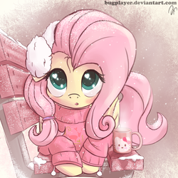 Size: 2700x2700   Tagged: safe, artist:bugplayer, fluttershy, pegasus, pony, bench, bugplayer is trying to murder us, clothes, cute, cyan eyes, daaaaaaaaaaaw, digital art, earmuffs, female, hair accessory, hair tie, heart eyes, hello kitty, looking at you, lying, mare, mug, park bench, pink, pink hair, pink mane, pink sweater, pink tail, pom pom (clothes), ponytail, sanrio, shyabetes, signature, snow, snowfall, solo, sweater, sweatershy, weapons-grade cute, wingding eyes, winter, yellow coat