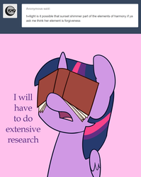 Size: 1120x1409 | Tagged: safe, artist:estrill, twilight sparkle, alicorn, pony, askbookobsessedtwilight, book, facebook, facebooking, female, friendship, mare, open mouth, solo, that pony sure does love books, twilight sparkle (alicorn)