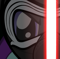 Size: 731x720 | Tagged: safe, artist:mrflabbergasted, starlight glimmer, crossover, kylo ren, lightsaber, mask, sithlight glimmer, star wars, star wars: the force awakens, weapon