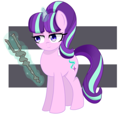 Size: 4000x3750 | Tagged: safe, artist:emera33, starlight glimmer, absurd resolution, equal sign, levitation, magic, s5 starlight, simple background, solo, staff, staff of sameness, telekinesis
