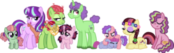 Size: 1479x448 | Tagged: safe, artist:starryoak, starlight glimmer, tree hugger, oc, oc:colors-of-the-wind, oc:floral fractal, oc:flower child, oc:meadow frolick, oc:moonlit forest, oc:starry jam tart, oc:strawberry smiles, oc:twink, earth pony, pony, unicorn, alternate hairstyle, baby, bandana, bedroom eyes, braid, crack shipping, eyes closed, family, female, flower, flower in hair, lesbian, magical lesbian spawn, messy mane, offspring, older, parent:starlight glimmer, parent:tree hugger, shipping, simple background, starhugger, story included, transparent background, twins