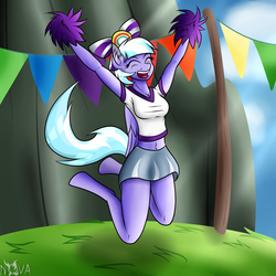 Size: 1500x1500 | Tagged: safe, artist:novaspark, lilac sky, anthro, 30 minute art challenge, belly button, cheerleader, clothes, midriff, pom pom, skirt, solo