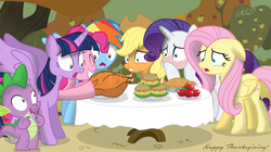 Size: 1841x1033 | Tagged: safe, artist:shutterflyeqd, applejack, fluttershy, pinkie pie, rainbow dash, rarity, spike, twilight sparkle, alicorn, dragon, earth pony, pegasus, pony, turkey, apple, blushing, burger, cooked, crying, dead, drool, eyes closed, female, floppy ears, food, frown, grin, gritted teeth, hay burger, herbivore, herbivore vs carnivore, herbivore vs omnivore, hoof hold, implied ponies eating meat, male, mane seven, mane six, mare, meat, omnivore, open mouth, pie, ponies eating meat, shocked, smiling, spike don't care about meat, spread wings, thanksgiving, tongue out, twilight sparkle (alicorn), varying degrees of want, wide eyes