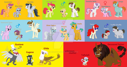 Size: 1024x545 | Tagged: apple bloom, artist:brillonsloup, diamond tiara, feathertiara, featherweight, female, gilda, griffon, gustave le grande, gustilda, male, manticore, next generation, oc, oc:blue mist, oc:cameo, oc:eugene, oc:harley, oc:mosaic, oc:omni-star, oc:sweetberry, oc:tallulah, offspring, parent:apple bloom, parent:diamond tiara, parent:featherweight, parent:gilda, parent:gustave le grande, parent:pipsqueak, parent:rumble, parent:scootaloo, parents:diamondweight, parents:gustilda, parent:silver spoon, parent:snails, parent:snips, parents:pipbloom, parents:rumbloo, parents:snailspoon, parents:sweetiesnips, parents:twuffle, parent:sweetie belle, parent:truffle shuffle, parent:twist, pipbloom, pipsqueak, rumble, rumbloo, safe, scootaloo, shipping, silver spoon, snails, snailspoon, snips, straight, sweetie belle, sweetiesnips, truffle shuffle, twist, twuffle, watermark