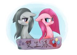 Size: 1200x850 | Tagged: safe, artist:phyllismi, marble pie, pinkie pie, banner, blushing, chinese, floppy ears, frown, glare, hair over one eye, looking back, pie sisters, pie twins, pinkamena diane pie, shy, sisters, sitting
