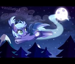 Size: 1600x1371   Tagged: dead source, safe, artist:spookyle, oc, oc only, oc:dream cloud, bat pony, pony, bat pony oc, fangs, flying, full moon, hairband, looking back, moon, night, night sky, sky, slit eyes, starry night, stars, tail wrap, trail, tree, underhoof