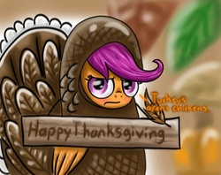 Size: 807x640   Tagged: safe, artist:shadow strike, scootaloo, pegasus, pony, turkey, animal costume, blushing, clothes, costume, cute, embarrassed, feather, female, filly, frown, grumpy, looking at you, scootachicken, scootaloo is not amused, scootaturkey, sign, solo, thanksgiving, turkey costume, unamused