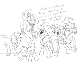 Size: 1600x1300 | Tagged: safe, artist:datspaniard, applejack, coloratura, pinkie pie, rainbow dash, rarity, svengallop, blushing, brutal honesty, countess coloratura, food, humiliation, implied bedwetting, juice, juice box, monochrome, nose spit, public humiliation, spit take, stage