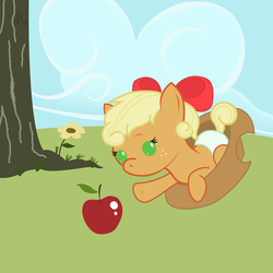 Size: 2000x2000 | Tagged: apple, applejack, artist:face-of-moe, baby, babyjack, baby pony, bow, cute, diaper, foal, food, hair bow, hat, jackabetes, obligatory apple, pony, safe, solo, weapons-grade cute