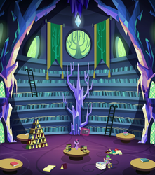 Size: 1280x1446 | Tagged: safe, composite screencap, edit, screencap, spike, twilight sparkle, alicorn, pony, made in manehattan, banner, book, case, comic book, crystal, female, ladder, library, magic, mare, reading, scenery, shelf, stack, stained glass, table, telekinesis, tree, twilight sparkle (alicorn), twilight's castle, twilight's castle library