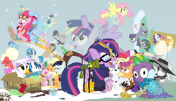 Size: 1200x692 | Tagged: safe, artist:dm29, apple bloom, applejack, big macintosh, bon bon, coco pommel, coloratura, derpy hooves, discord, dj pon-3, doctor whooves, fluttershy, gilda, lemon hearts, limestone pie, lyra heartstrings, marble pie, maud pie, minuette, moondancer, octavia melody, pinkie pie, princess cadance, rainbow dash, rarity, scootaloo, shining armor, smooze, spike, starlight glimmer, sweetie belle, sweetie drops, time turner, trouble shoes, twilight sparkle, twinkleshine, vinyl scratch, alicorn, griffon, pony, twittermite, amending fences, appleoosa's most wanted, bloom and gloom, brotherhooves social, canterlot boutique, castle sweet castle, crusaders of the lost mark, do princesses dream of magic sheep, hearthbreakers, made in manehattan, make new friends but keep discord, party pooped, princess spike (episode), rarity investigates, scare master, slice of life (episode), tanks for the memories, the cutie map, the cutie re-mark, the hooffields and mccolts, the lost treasure of griffonstone, the mane attraction, the one where pinkie pie knows, what about discord?, alicorn costume, alternate hairstyle, athena sparkle, back to the future, background six, bedroom eyes, bipedal, bowtie, box, cardboard box, charlie brown, clothes, costume, crossdressing, crossing the memes, crying, cutie mark, cutie mark crusaders, derpysaur, detective rarity, dress, fake horn, fake wings, female, filly, fusion, glasses, hat, i didn't listen, i'm pancake, implied rarijack, it happened, lyrabon (fusion), mare, meme, new crown, nightmare night costume, ocular gushers, open mouth, orchard blossom, peanuts, pest control gear, pinkie mcpie, princess dress, punklight sparkle, rara, revolutionary girl utena, s5 starlight, saddle bag, selfie, sled, snow, staff, staff of sameness, sunglasses, sweater, the cmc's cutie marks, the meme continues, the ride never ends, the story so far of season 5, this isn't even my final form, toilet paper roll, toilet paper roll horn, top hat, twilight muffins, twilight scepter, twilight sparkle (alicorn), unamused, volumetric mouth, wig
