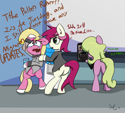 Size: 3248x2925 | Tagged: safe, artist:davierocket, daisy, flower wishes, lily, lily valley, roseluck, earth pony, pony, bowtie, business suit, businessmare, clothes, coffee, comforting, crying, dock, female, flower, flower in hair, flower trio, food, glass, mare, necktie, office, shoes, suit, water, water cooler